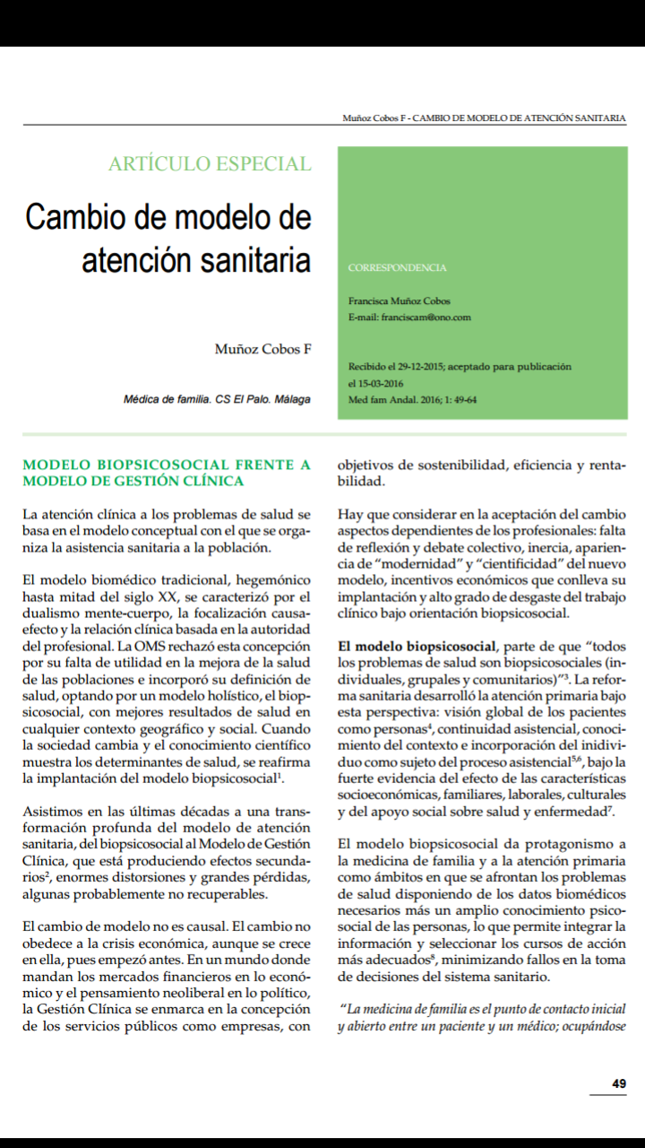 cambio de modelo de asistencia sanitaria por Paqui Muñoz Cobos